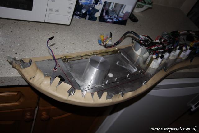 Rear of re-trimmed dash showing pod for speaker<br />